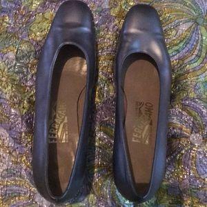 Silver Ferragamo heels